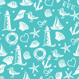Seamless pattern hand drawn sea themed objects. Stock Photos