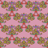 Seamless pattern. Hand drawn seamless pattern from ethnic elements on pink background. Royalty Free Stock Images