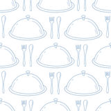 Seamless pattern with hand drawn serve dish Stock Images