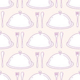 Seamless pattern with hand drawn serve dish. Kitchen background Royalty Free Stock Image