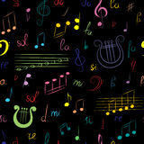 Seamless Pattern of Hand Drawn Set of  Music Symbols. Colorful Doodle Treble Clef, Bass Clef, Notes and Lyre on Black. Sketch Styl Stock Photos