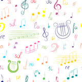 Seamless Pattern of Hand Drawn Set of  Music Symbols. Colorful Doodle Treble Clef, Bass Clef, Notes and Lyre. Sketch Style. Royalty Free Stock Images
