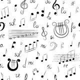 Seamless Pattern of Hand Drawn Set of Music Symbols. Doodle Treble Clef, Bass Clef, Notes and Lyre. Sketch Style Stock Image