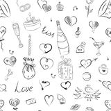 Seamless Pattern of Hand Drawn Set of Valentine`s Day Symbols. Children`s Funny Doodle Drawings of Hearts, Gifts, Rings, Balloons. vector illustration