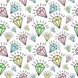 Seamless pattern of hand-drawn shining diamonds. Vector background image for holiday, baby shower.  stock illustration
