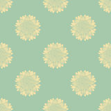 Seamless pattern with hand-drawn silhouettes sunflowers Stock Photography