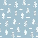 Seamless pattern with hand drawn simple white fir trees. Abstract naive winter scandinavian texture for textile, wrapping paper, cover, surface, background Stock Photography