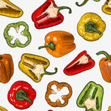 Seamless pattern with hand drawn sketch style peppers isolated on white background. Royalty Free Stock Images