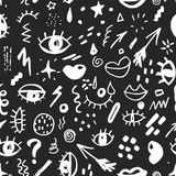 Seamless pattern with hand drawn sketched doodle elements eyes and lips, abstract background. Typography design print, vector illu. Stration Stock Photos