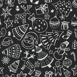 Seamless pattern of hand drawn sketchy christmas elements Stock Images