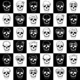 Seamless pattern hand drawn skulls with hats Royalty Free Stock Photo