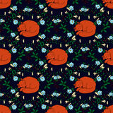 Seamless pattern with hand-drawn sleeping cute fox and flowers Royalty Free Stock Images