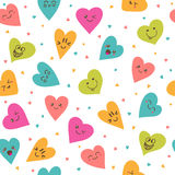 Seamless pattern with hand drawn smiley hearts. Cute cartoon  Royalty Free Stock Photo