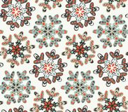 Seamless pattern with hand drawn snowflakes. Royalty Free Stock Images