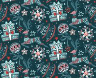 Seamless pattern with hand drawn snowflakes. Royalty Free Stock Photography