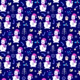 Seamless pattern with snowmen. Seamless pattern with hand drawn  snowmen on dark blue background Royalty Free Stock Images