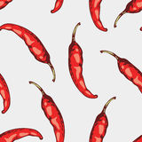 Seamless pattern with hand drawn spicy chili peppers Stock Photo