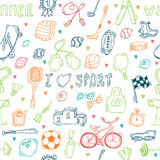Seamless pattern with hand drawn sport equipment. I love sport Stock Image