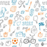 Seamless pattern with hand drawn sport equipment Stock Image