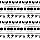 Seamless pattern. Hand drawn stars, circles, hearts and strips. Isolated on a white background Stock Photography