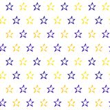 Seamless pattern with hand drawn stars. Repeating texture with doodle symbols on white background vector illustration