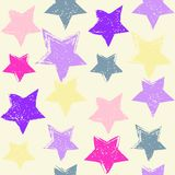 Seamless pattern with hand drawn stars. Repeating texture with grunge symbols for background royalty free illustration