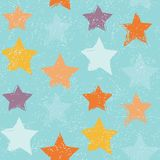 Seamless pattern with hand drawn stars. Repeating texture with grunge symbols for background Stock Photo