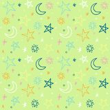 Seamless pattern with hand-drawn stars. Vector Royalty Free Stock Images