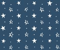 Seamless Pattern with Hand Drawn Stars. White stars with circles on blue background stock illustration