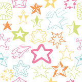 Seamless pattern with hand drawn stars. Sketchy star seamless ba Royalty Free Stock Photo
