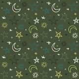 Seamless pattern with hand-drawn stars. Vector Stock Photos