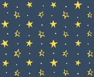 Seamless Pattern with Hand Drawn Stars. Yellow stars with white circles on dark background Royalty Free Stock Photography