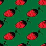 Seamless pattern with hand-drawn strawberries on the green background Royalty Free Stock Photos