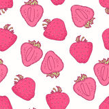 Seamless pattern with hand drawn strawberry flavor Royalty Free Stock Photo