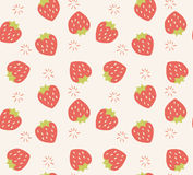 Seamless pattern with hand drawn strawberry fruit Stock Images