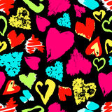 Seamless pattern with hand drawn stylish grunge hearts. Bright modern colors Vector Illustration