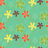 Seamless pattern of hand drawn summer flowers on green Royalty Free Stock Photos