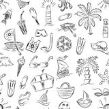 Seamless Pattern of Hand Drawn Summer Vacancies Symbols. Children Drawings of Doodle Boats, Ice cream, Palms, Hat, Umbrella. Jellyfish, Cocktail, Sun. Vector Royalty Free Stock Photos