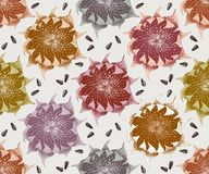 Seamless pattern with hand drawn sunflowers royalty free illustration