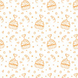 Seamless pattern with hand drawn sweet cupcakes Royalty Free Stock Photo