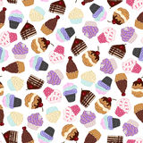 Seamless pattern with hand drawn sweets and cup cakes. Vector illustration Stock Photography