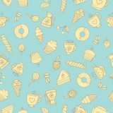 Seamless pattern of hand-drawn sweets icons. Seamless pattern of hand-drawn icons coffee, tea and sweets beige with a dark contour on blue background Royalty Free Stock Images