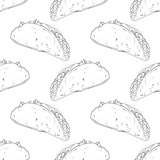 Seamless pattern with hand drawn taco. Background Stock Photography