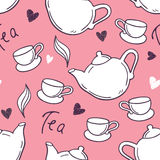 Seamless pattern with hand drawn tea cup and teapot. Doodle background Stock Images