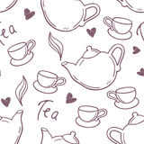 Seamless pattern with hand drawn tea cup and Royalty Free Stock Photography