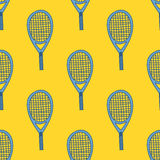 Seamless pattern with hand drawn tennis racket Stock Photos