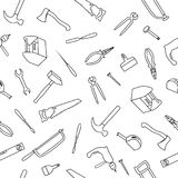 Seamless Pattern With Hand Drawn Tools. Hand Drawn Seamless Pattern With Tools outline on the white background Royalty Free Stock Image