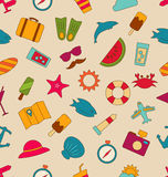 Seamless Pattern with Hand Drawn Travel Objects and Icons Stock Images