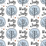 Seamless pattern of hand drawn tree. Winter forest background. Vector. Illustration Stock Photography