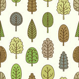 Seamless pattern with hand-drawn trees. Stock Photography